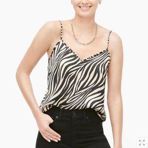J Crew Zebra Striped V-Neck Cami, Size 4 NWT